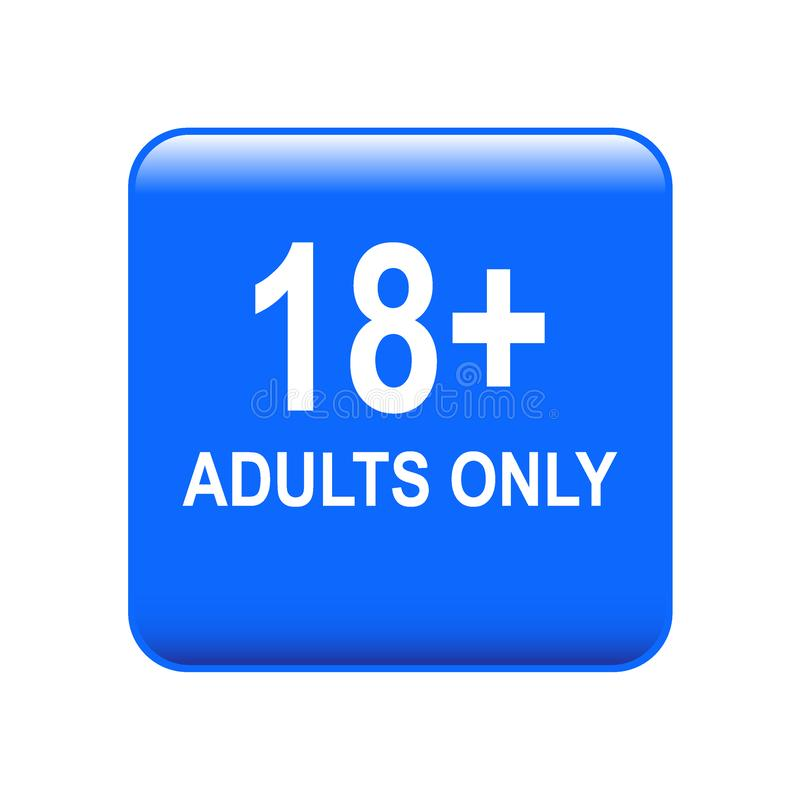18 plus adults only. Vector illustration of adults only web button on isolated white background vector illustration