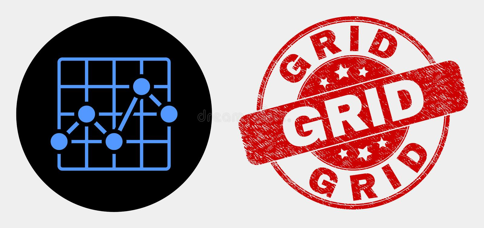 Vector Chart Grid Icon and Scratched Grid Watermark. Rounded chart grid icon and Grid seal stamp. Red rounded scratched seal with Grid caption. Blue chart grid vector illustration