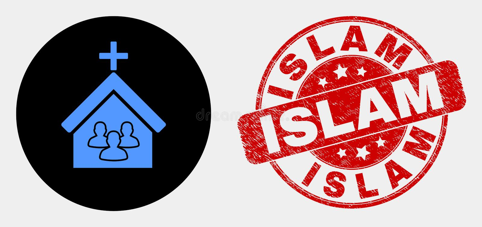 Vector Church People Icon and Grunge Islam Stamp. Rounded church people icon and Islam seal stamp. Red rounded distress seal stamp with Islam caption. Blue stock illustration
