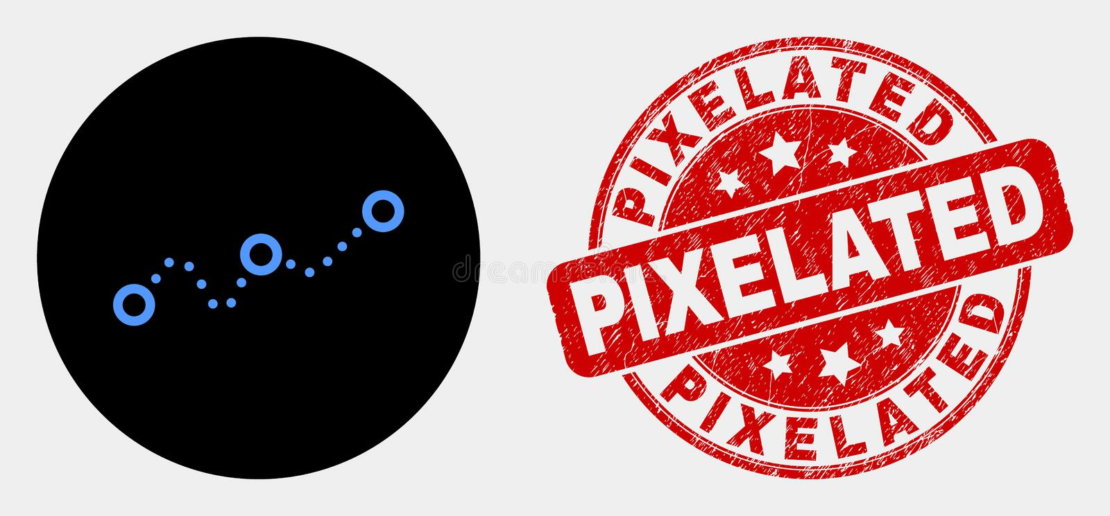 Vector Dotted Chart Icon and Grunge Pixelated Seal stock illustration