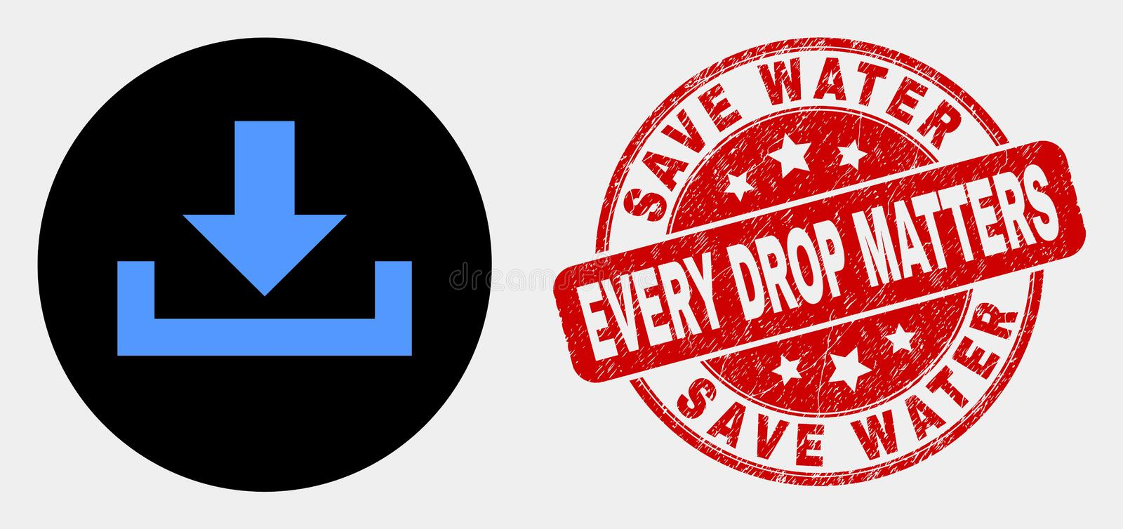 Vector Download Icon and Grunge Save Water Every Drop Matters Seal royalty free illustration