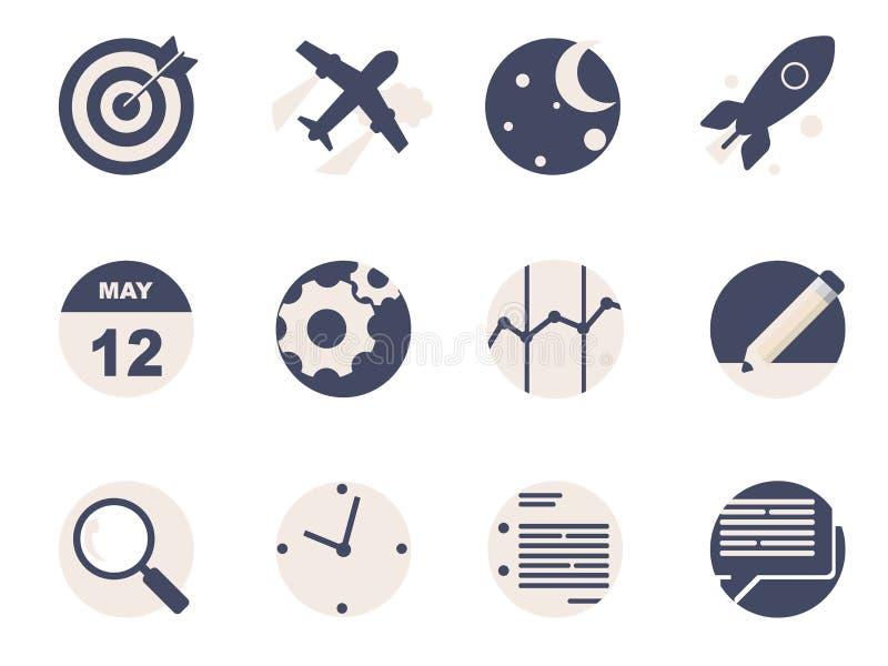 Rounded Flat Icons royalty free illustration