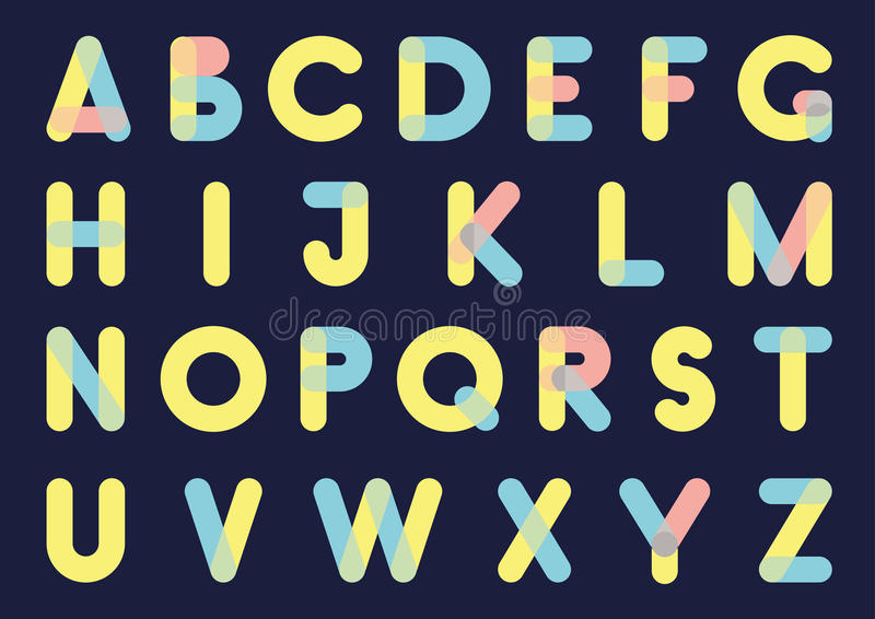 Rounded font. Vector alphabet for posters with overlay effect letters stock image