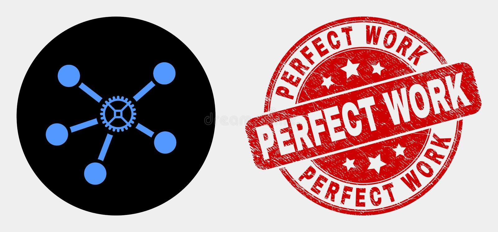 Vector Gear Links Icon and Grunge Perfect Work Seal vector illustration