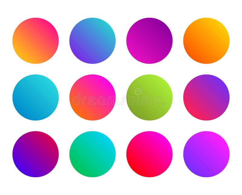 Rounded gradient sphere button. Multicolor fluid circle gradients, colorful soft round buttons. Flat vector vector illustration