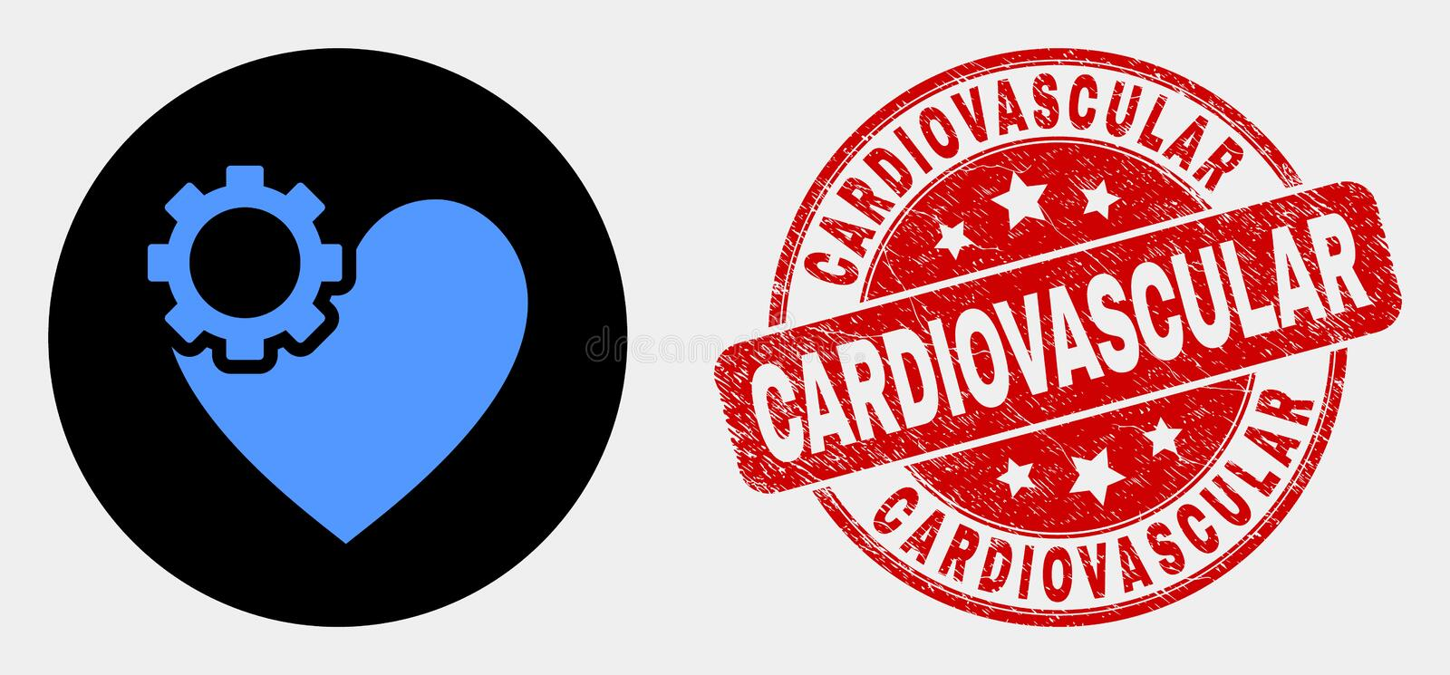 Vector Heart Gear Icon and Grunge Cardiovascular Stamp. Rounded heart gear pictogram and Cardiovascular stamp. Red rounded grunge stamp with Cardiovascular text royalty free illustration
