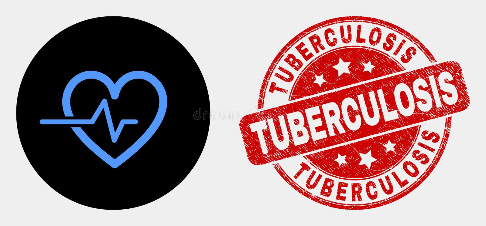 Vector Heart Pulse Icon and Grunge Tuberculosis Stamp. Rounded heart pulse icon and Tuberculosis watermark. Red rounded grunge watermark with Tuberculosis text stock illustration