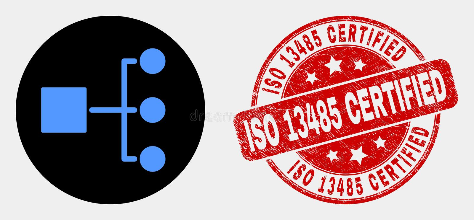 Vector Hierarchy Icon and Distress ISO 13485 Certified Stamp. Rounded hierarchy icon and ISO 13485 Certified watermark. Red rounded textured watermark with ISO vector illustration