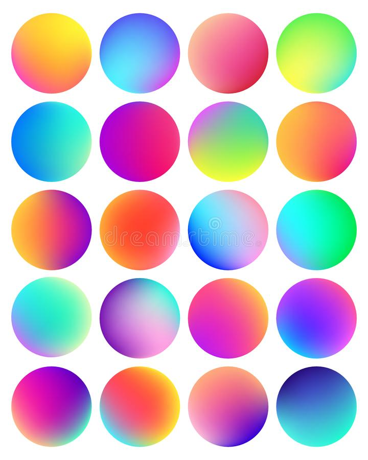 Rounded holographic gradient sphere button. Multicolor fluid circle gradients, colorful soft round buttons or vivid royalty free illustration