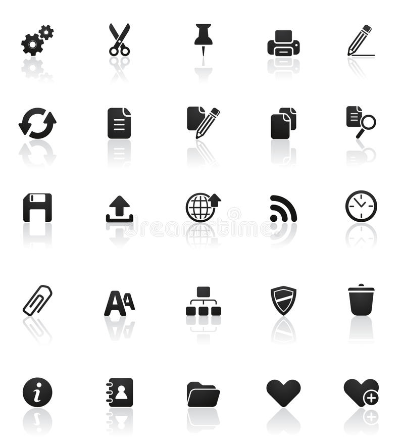 Rounded icons series: Set 2. Set of 25 high quality web and office icons vector illustration