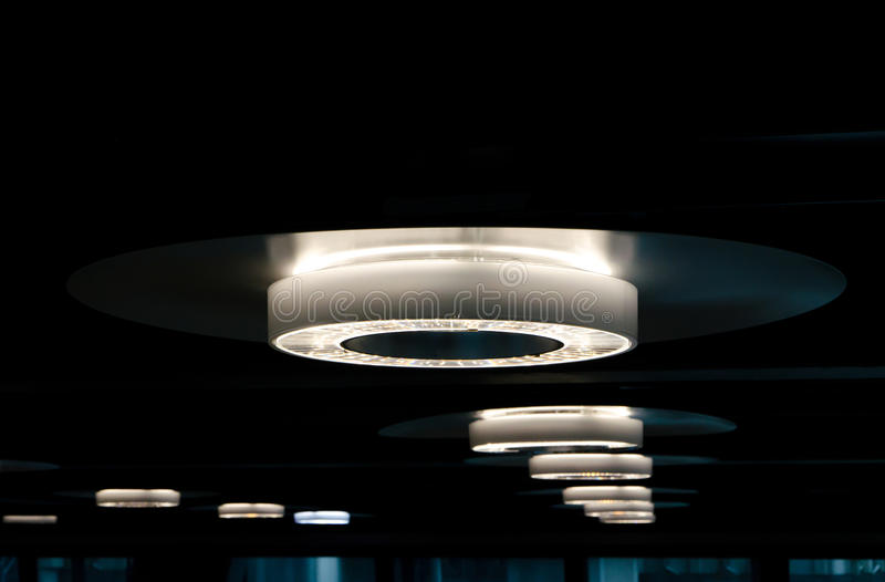 Rounded LED lights. Rounded new generation LED lights lining up royalty free stock photos