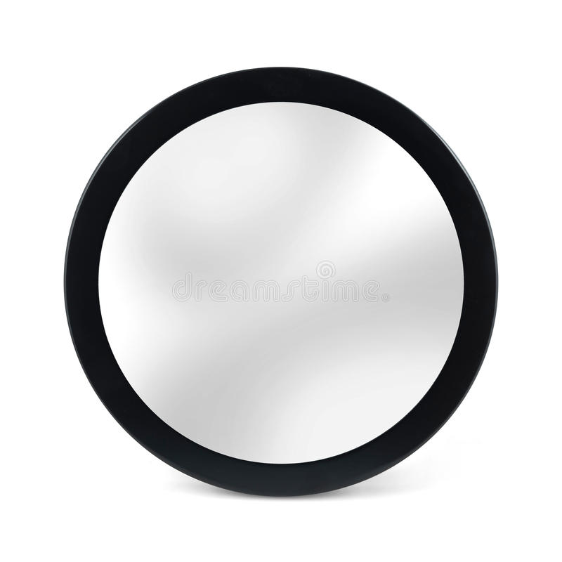 Rounded mirror in black frame - isolated on white. Bacground royalty free stock photo