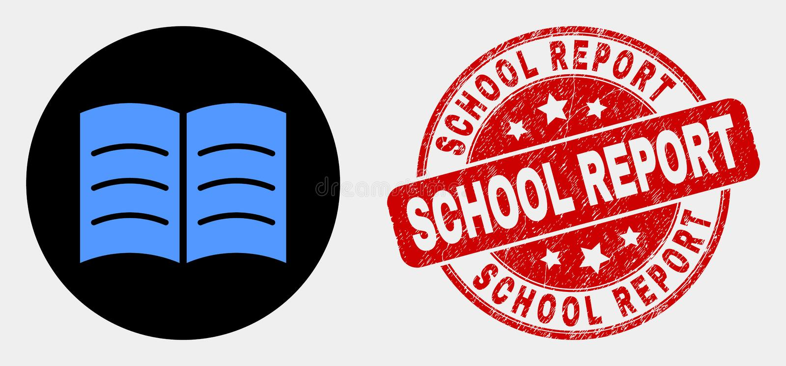 Vector Open Book Icon and Scratched School Report Stamp Seal vector illustration