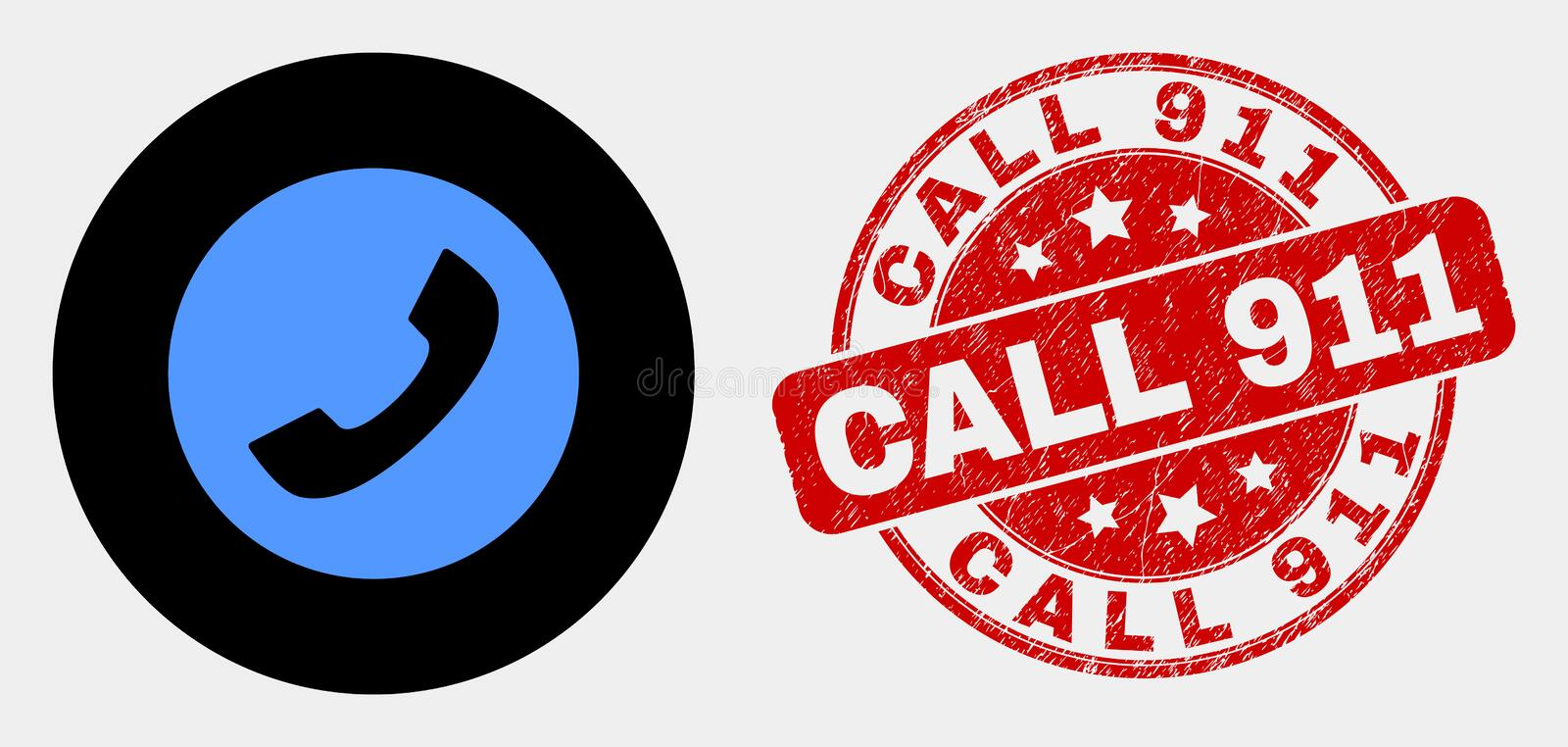 Vector Phone Call Icon and Grunge Call 911 Stamp Seal royalty free illustration