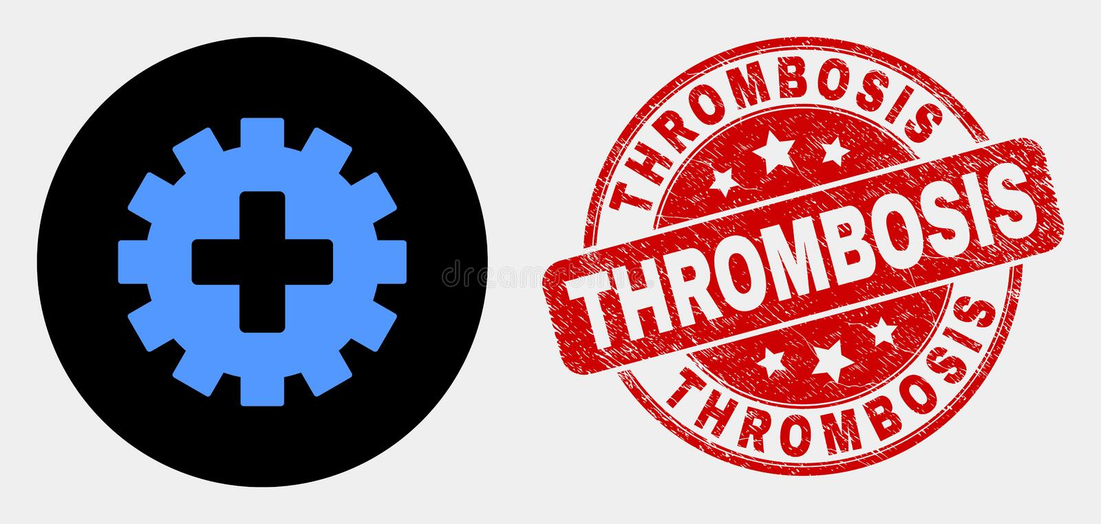 Vector Plus Gear Icon and Grunge Thrombosis Seal. Rounded plus gear icon and Thrombosis stamp. Red rounded textured stamp with Thrombosis caption. Blue plus gear stock illustration