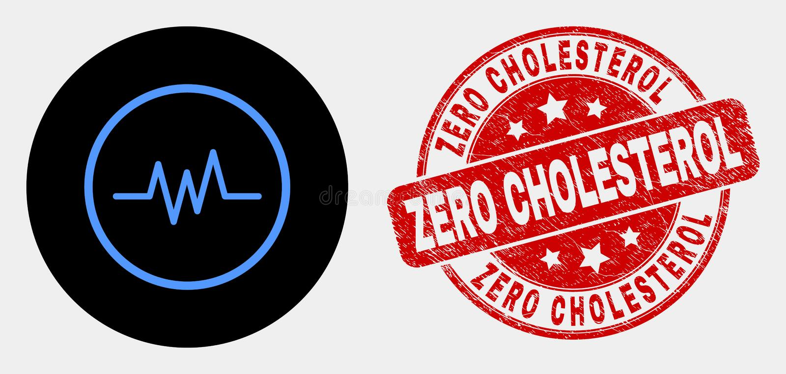 Vector Pulse Signal Icon and Scratched Zero Cholesterol Stamp Seal. Rounded pulse signal icon and Zero Cholesterol stamp. Red rounded scratched seal stamp with vector illustration