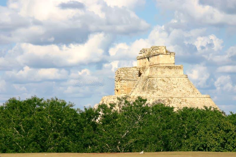 Rounded pyramid. Main pyramid on mayan sute Uxmal over blue sky stock image