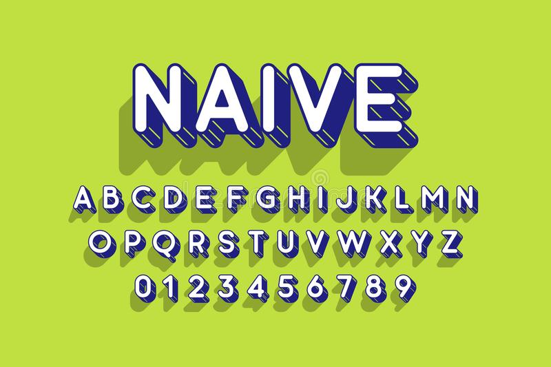 Rounded retro style 3d font vector illustration