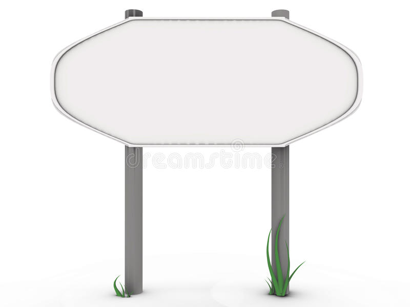 Rounded road sign with grass - 3d image. Rounded road sign with grass, a 3d image royalty free illustration