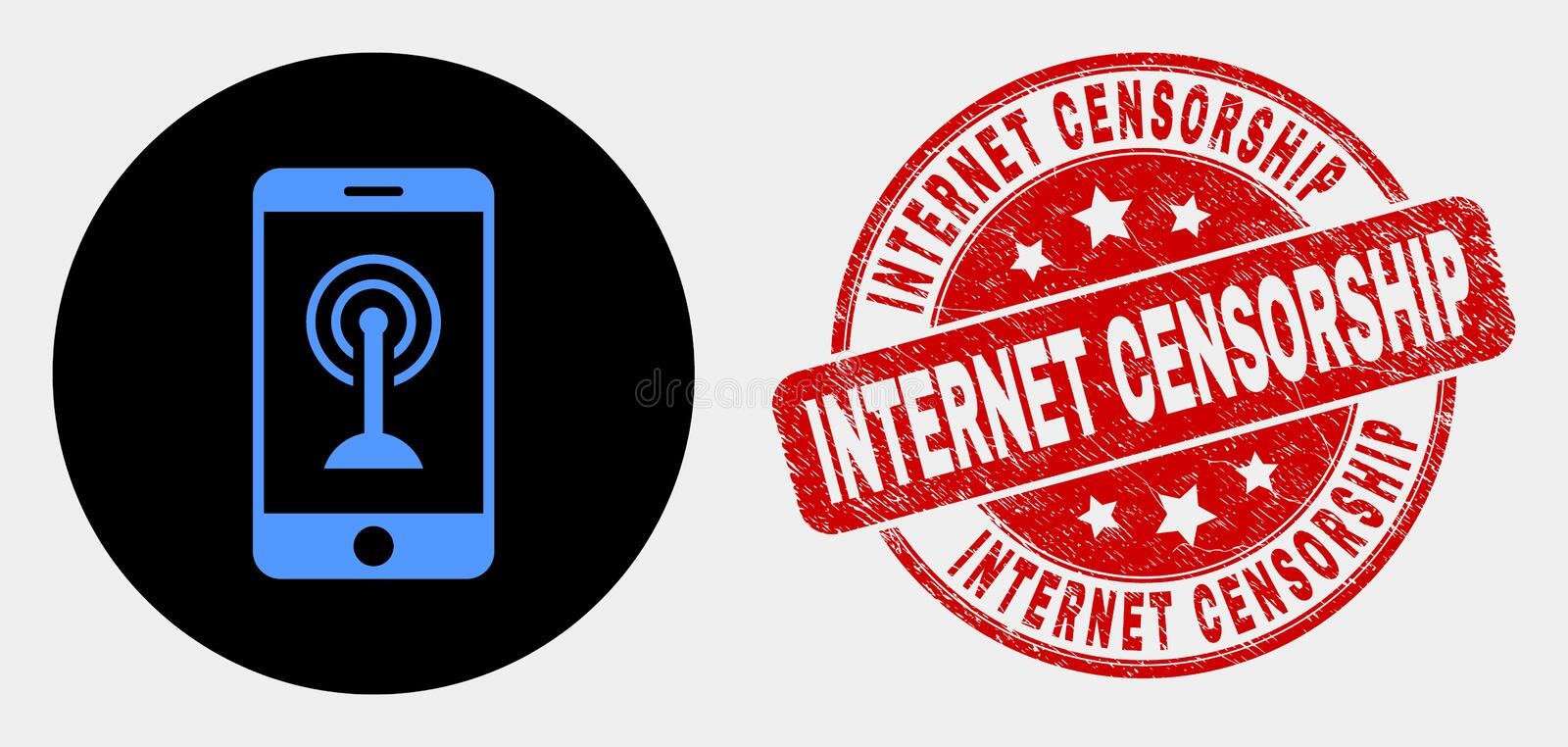 Vector Smartphone Wi-Fi Hotspot Icon and Distress Internet Censorship Seal. Rounded smartphone wi-fi hotspot pictogram and Internet Censorship seal. Red rounded vector illustration