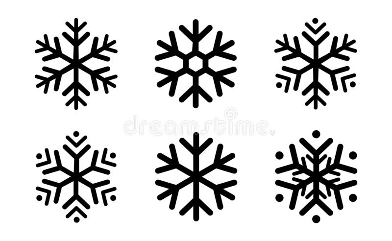 Rounded snowflakes silhouettes black template set icon. Trendy shapes composition. New year winter Icon Eps10 vector illustration royalty free illustration