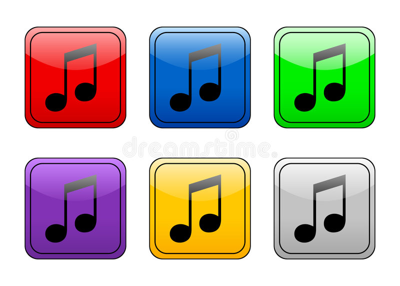 Download Rounded Square Button Music Stock Vector - Image: 4885443