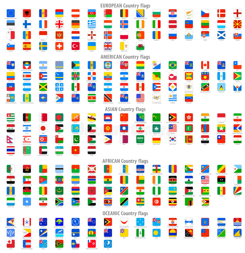 Free Rounded Square Vector National Flag Icons Stock Images - 46171944
