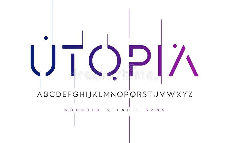 Rounded stencil san serif, alphabet, uppercase letters, typograp. Hy Vector illustration royalty free illustration