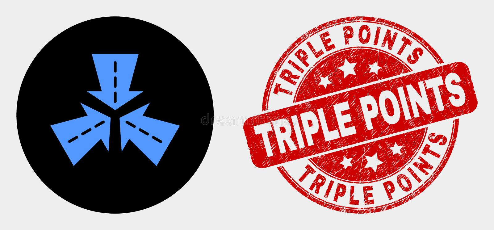 Vector Triple Roads Intersection Icon and Distress Triple Points Seal. Rounded triple roads intersection icon and Triple Points seal. Red rounded scratched seal stock illustration