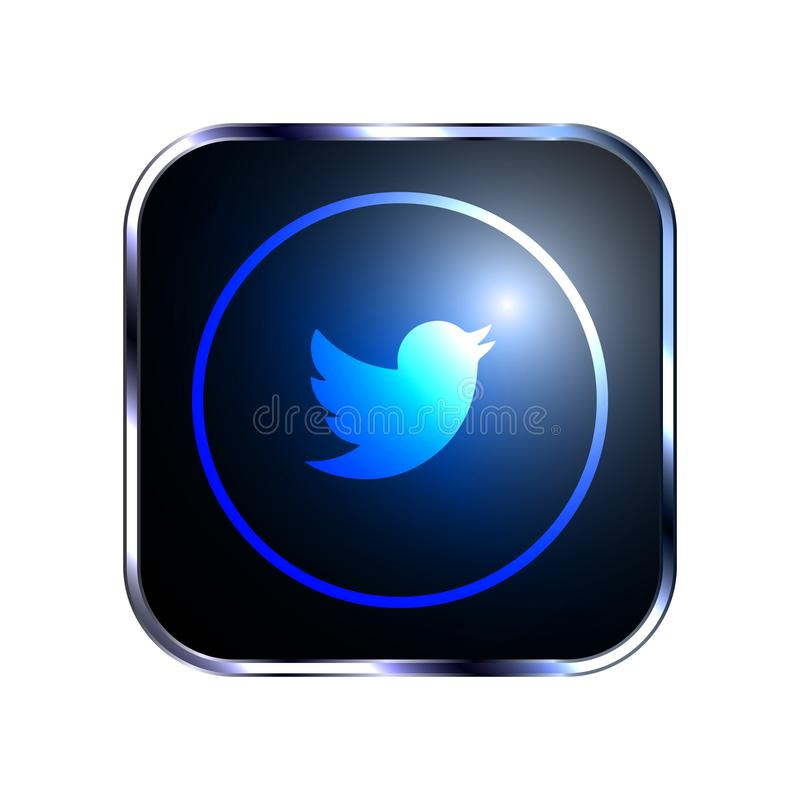 Rounded Twitter social network icon vector illustration