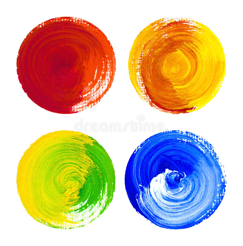 Rounded watercolor design elements hand drawn on canvas stock images