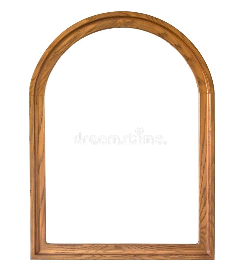 Rounded wooden picture frame on white background royalty free stock image