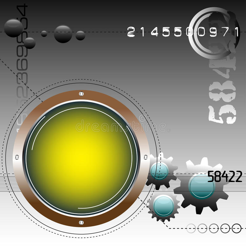 Rounded yellow frame and gears stock photo