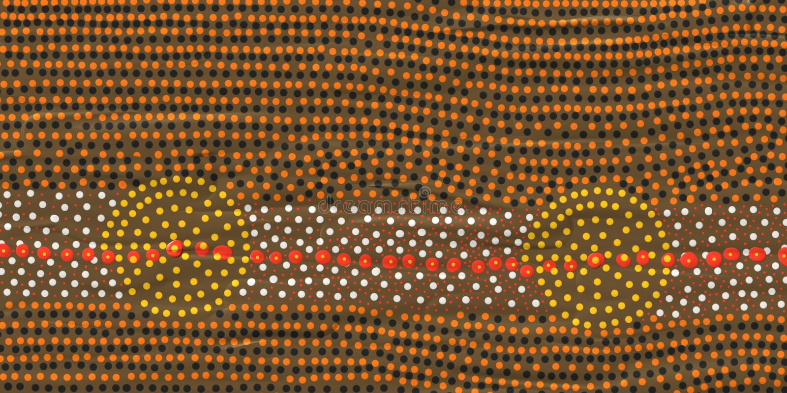 Roundels in aboriginal art. Can mean a campsite or a water hole.These sites are very significant to Australian indigenous people living in the central area of vector illustration