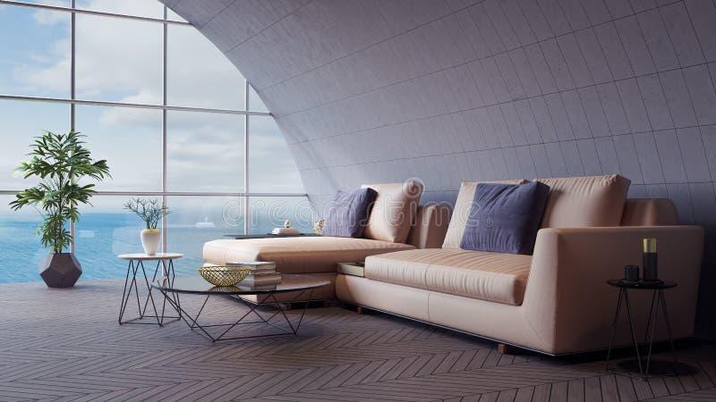 Roundhouse-modernes Wohnzimmer, Innenarchitektur 3D übertragen lizenzfreie abbildung