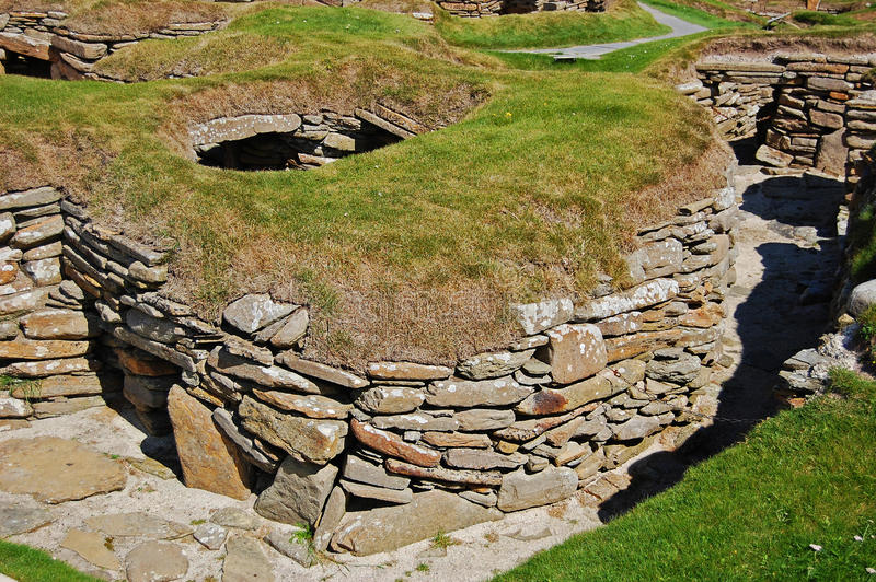 Roundhouse am Skara Brae lizenzfreie stockbilder