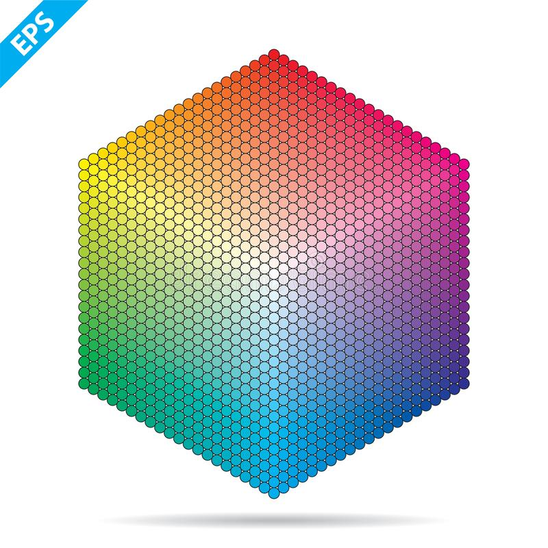 Vector color palette. 1261 different colors in small circles in a shape of hexagon. stock illustration