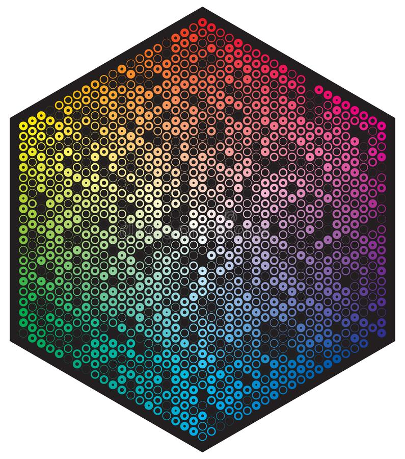 Vector color palette. Many different color circles in shape of hexagon pattern royalty free illustration
