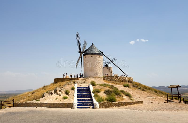Roup von Windmühlen in Campo de Criptana La Mancha, Consuegra, Don Quixote-Weg, Spanien lizenzfreies stockbild