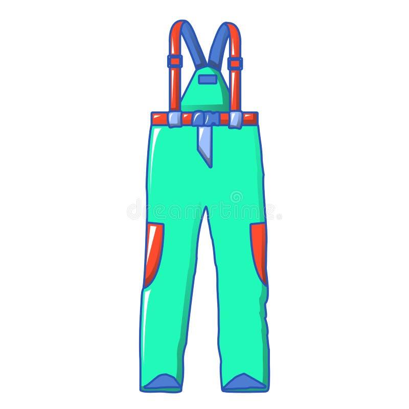 Roupa ícone do esqui, estilo dos desenhos animados ilustração do vetor