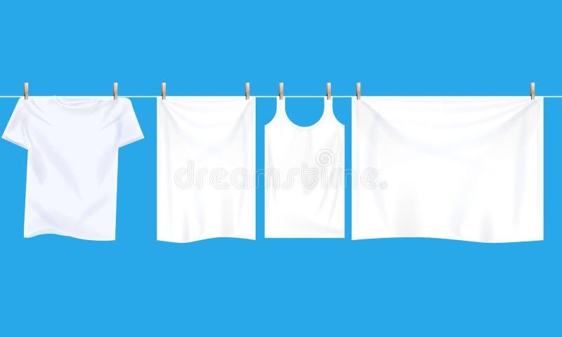 Roupa branca brilhante que pendura para fora no fio para secar Vetor ilustrado realístico ilustração do vetor