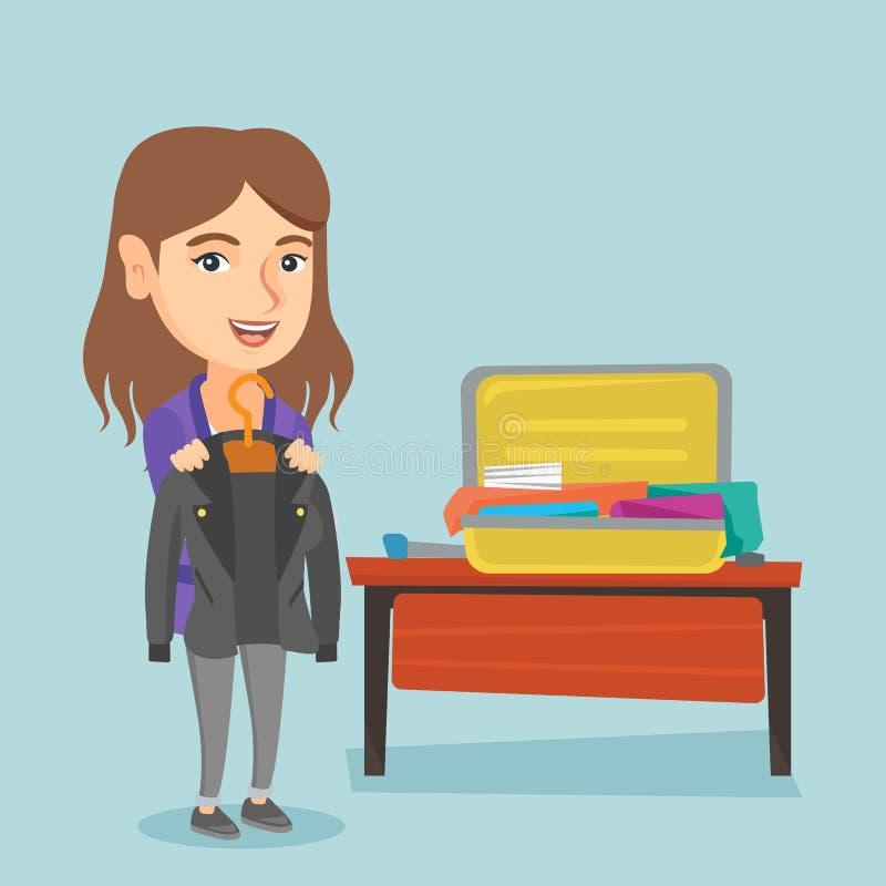 Roupa caucasiano da embalagem da mulher em uma mala de viagem ilustração stock