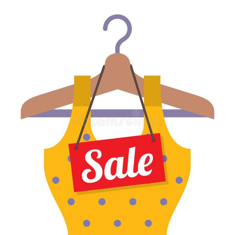 Roupa da mulher no gancho com etiqueta da venda ilustração stock