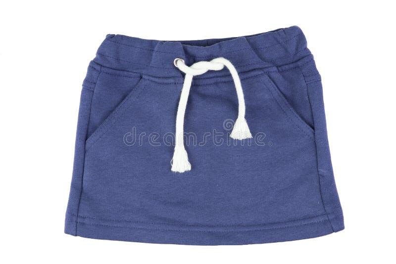Roupa das meninas Saia azul das meninas com guita de linho branca imagem de stock