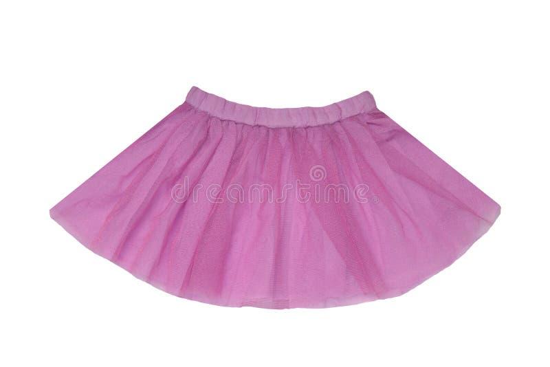 Roupa das meninas Saia curto cintilando cor-de-rosa bonita festiva do ver?o da menina isolada em um fundo branco Crian?as da bail foto de stock royalty free