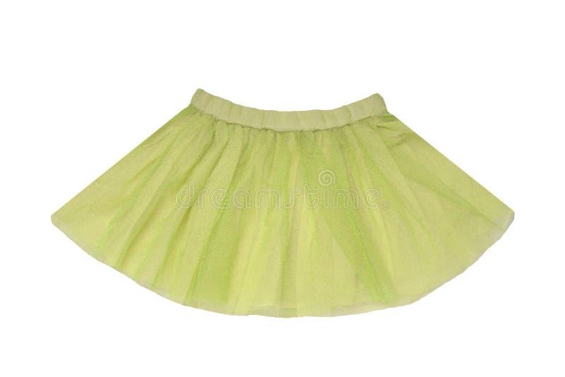 Roupa das meninas Saia curto cintilando verde bonita festiva do ver?o da menina isolada em um fundo branco Crian?as da bailarina fotografia de stock royalty free