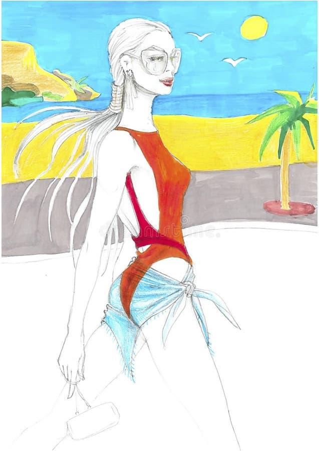 Roupa de banho bicolor cruzado ilustração royalty free