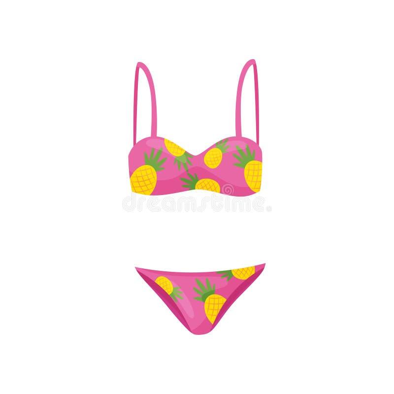 Roupa de banho de duas partes cor-de-rosa com cópia do abacaxi Vestuário das mulheres para nadar Biquini fêmea na moda Ícone liso ilustração do vetor