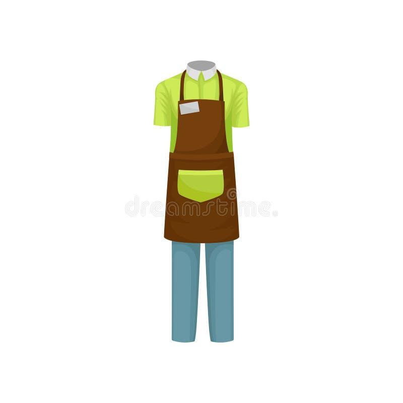 Roupa de funcionamento do barista Camisa curto-sleeved verde, avental marrom e calças azuis Projeto liso do vetor ilustração stock