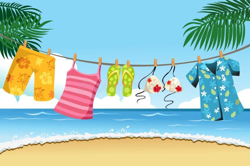 Roupa de secagem do verão ilustração royalty free